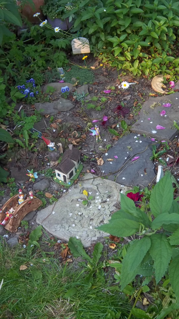 Faerie Midsummer's Eve gathereing area preapred by 6 year old, Eli